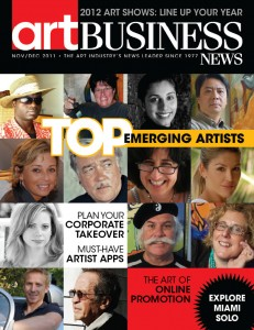 A sneak peek at the cover of the November/December cover of Art Business News