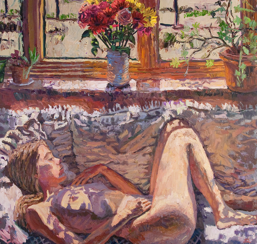 """Jivan Lee's Bella Lucia, 2011. 40"""" x 40"""", walnut oils (impasto) on linen"""