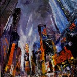 "Robert Gilbert's ""Times Square Crazy Night,"" 30x24 oil painting on canvas"