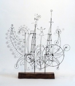 028.-I-ALREADY-SAID-MY-PRAYERS-BEFORE-I-ARRIVED-AT-THE-MACHINE--A-Prayer-Machine-James-Paterson-2013-32.5x30x7-inches-steel-wire-bubinga--wood-base