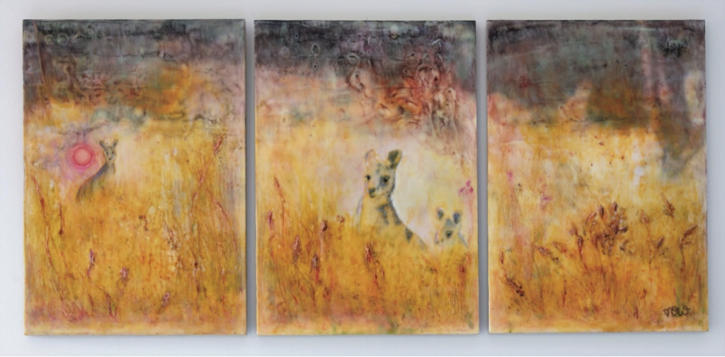 'The Scorching Skies Above Us', Encaustic Original (Triptych), December 2019