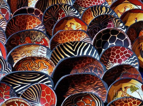 African Art Wooden Bowls Art Print by Werner Lehmann
